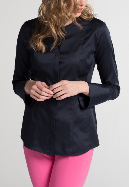 ETERNA LONG SLEEVE BLOUSE SLIM FIT STRETCH NAVY UNI