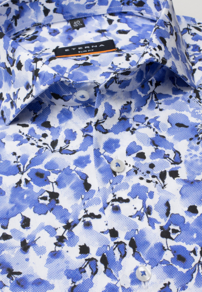ETERNA LONG SLEEVE SHIRT SLIM FIT POPLIN BLUE PRINTED