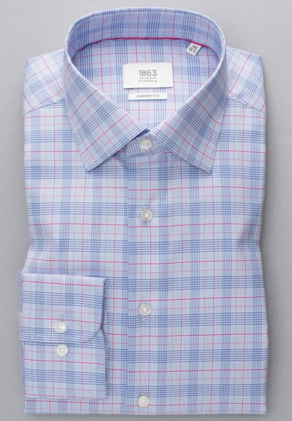 ETERNA LONG SLEEVE SHIRT COMFORT FIT TWILL LIGHT BLUE / RED CHECKED