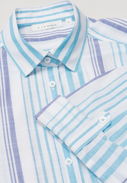 ETERNA 3/4 SLEEVE BLOUSE MODERN CLASSIC TURQUOISE / WHITE / BLUE STRIPED