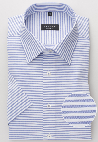 ETERNA HALF SLEEVE SHIRT COMFORT FIT BLUE STRIPED