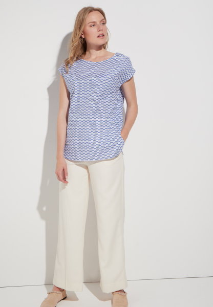 ETERNA WITHOUT SLEEVES BLOUSE MODERN CLASSIC POPLIN BLUE/WHITE PRINTED