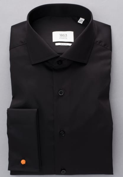 ETERNA LONG SLEEVE SHIRT SLIM FIT GENTLE SHIRT TWILL BLACK<BR> UNI