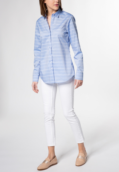 ETERNA LONG SLEEVE BLOUSE MODERN CLASSIC BLUE STRIPED