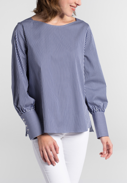 LONG SLEEVE BLOUSE 1863 BY ETERNA - PREMIUM STRETCH NAVY BLUE / WHITE STRIPED
