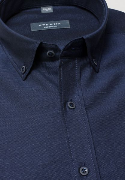 ETERNA HALF SLEEVE SHIRT MODERN FIT LINEN NAVY BLUE UNI