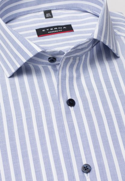 ETERNA LONG SLEEVE SHIRT MODERN FIT PINPOINT BLUE/WHITE STRIPED