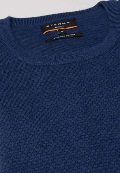 ETERNA KNIT SWEATER SLIM FIT WITH ROUND NECK SMOKE BLUE UNI