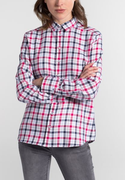 ETERNA LONG SLEEVE BLOUSE MODERN CLASSIC FLANELL BLUE/RED CHECKED