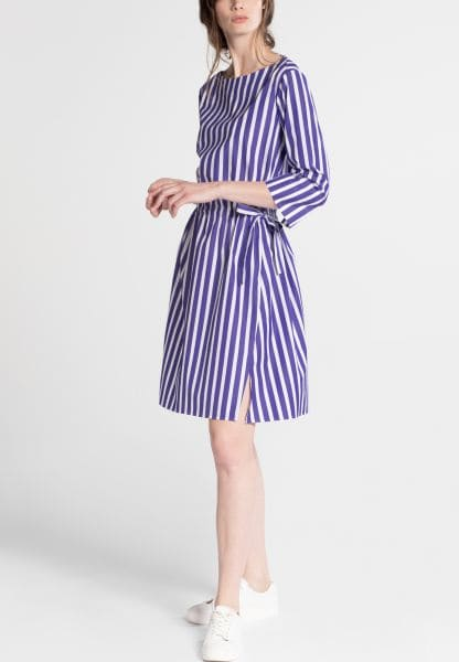 3/4 SLEEVE SHIRTDRESS 1863 BY ETERNA - PREMIUM POPLIN PURPLE / WHITE STRIPED