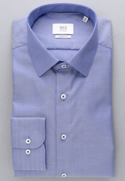ETERNA LONG SLEEVE SHIRT MODERN FIT HERRINGBONE BLUE UNI