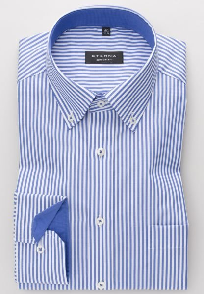 ETERNA LONG SLEEVE SHIRT COMFORT FIT POPLIN BLUE STRIPED