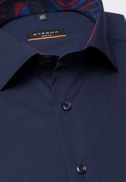ETERNA HALF SLEEVE SHIRT SLIM FIT STRETCH NAVY UNI