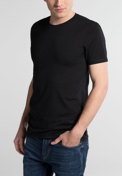 ETERNA BODYSHIRT WITH ROUND NECK BLACK UNI
