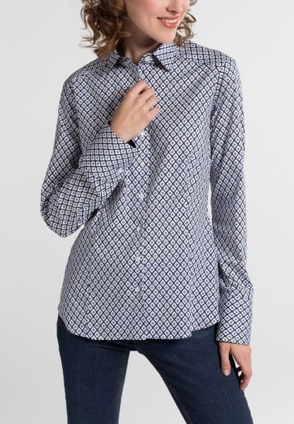 ETERNA LONG SLEEVE BLOUSE SLIM FIT NAVY / WHITE / LIGHT BLUE PRINTED