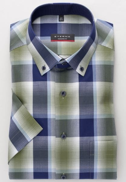 ETERNA SHIRT MODERN FIT POPLIN OLIVE CHECKED