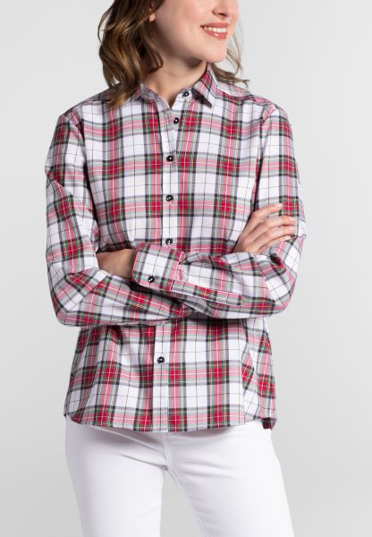 ETERNA LONG SLEEVE BLOUSE MODERN CLASSIC FLANELL WHITE / GREEN / RED CHECKED