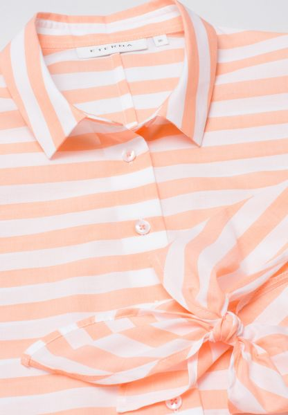 ETERNA 3/4 SLEEVE BLOUSE MODERN CLASSIC POPLIN APRICOT / WHITE STRIPED