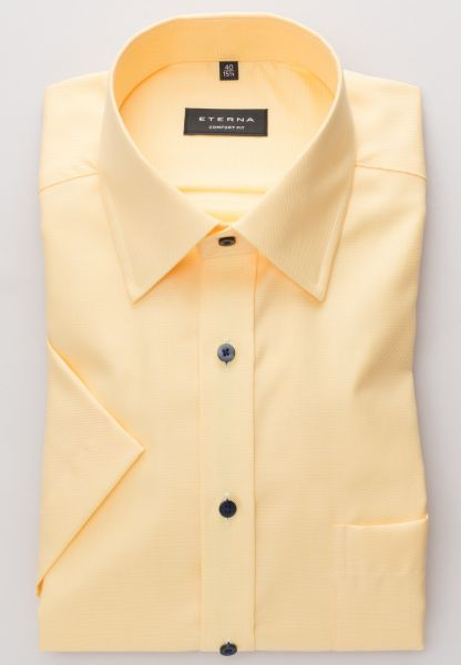 ETERNA HALF SLEEVE SHIRT COMFORT FIT TWILL YELLOW STRUCTURED
