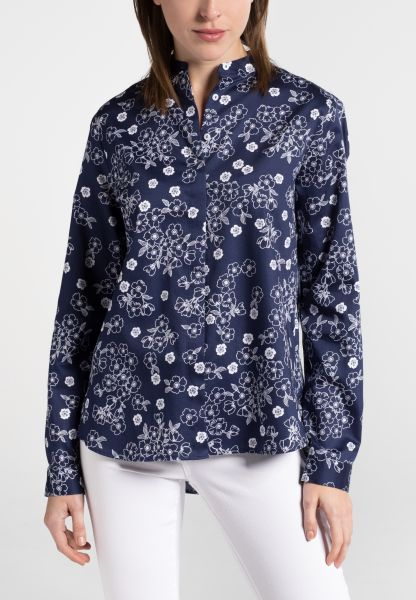 ETERNA LONG SLEEVE BLOUSE MODERN CLASSIC NAVY BLUE PRINTED
