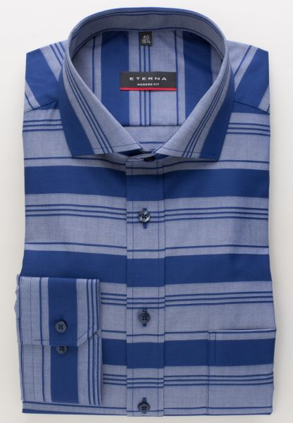 ETERNA LONG SLEEVE SHIRT MODERN FIT BARRÉ FABRIC BLUE STRIPED