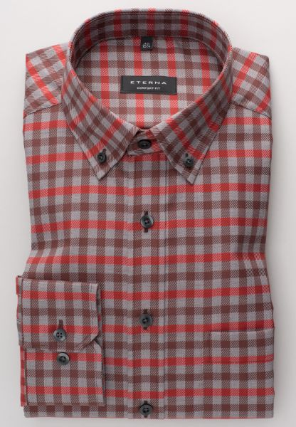 ETERNA LONG SLEEVE SHIRT COMFORT FIT TWILL RED/GREY CHECKED