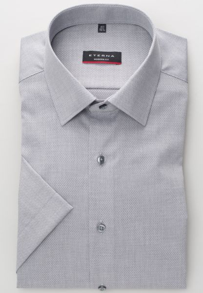 ETERNA HALF SLEEVE SHIRT MODERN FIT FANCY WEAVE SILVER GRAY STRUCTURED