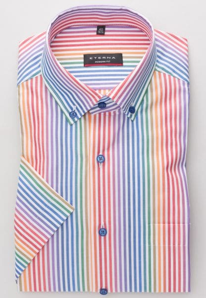 ETERNA HALF SLEEVE SHIRT MODERN FIT POPLIN COLORFUL STRIPED