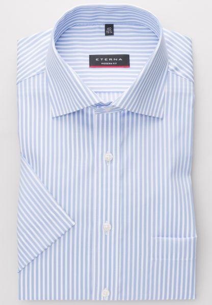 ETERNA SHIRT MODERN FIT TWILL LIGHT BLUE / WHITE STRIPED