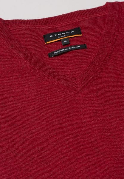 ETERNA KNIT SWEATER SLIM FIT WITH V-NECK RED UNI