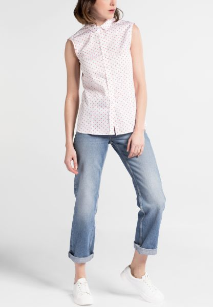 ETERNA WITHOUT SLEEVES BLOUSE MODERN CLASSIC PEACH / WHITE PRINTED