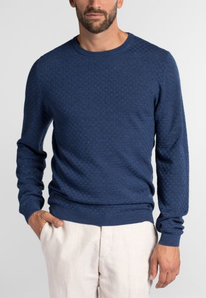 ETERNA KNIT SWEATER WITH ROUND NECK NAVY BLUE UNI