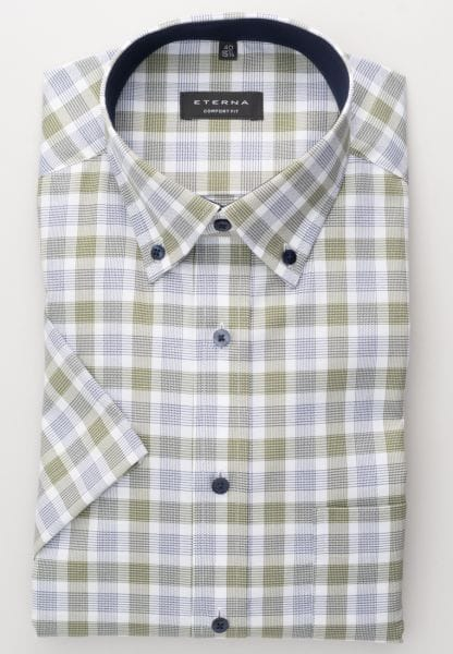 ETERNA HALF SLEEVE SHIRT COMFORT FIT OXFORD GREEN / BLUE CHECKED