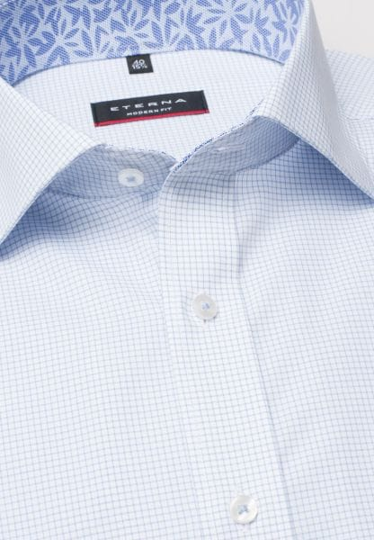 ETERNA HALF SLEEVE SHIRT MODERN FIT POPLIN LIGHT BLUE/WHITE CHECKED