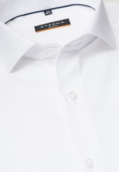 ETERNA LONG SLEEVE SHIRT SLIM FIT NATTÉ-STRETCH WHITE STRUCTURED
