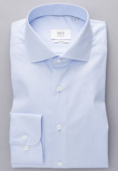 ETERNA LONG SLEEVE SHIRT SLIM FIT TWILL LIGHT BLUE STRUCTURED