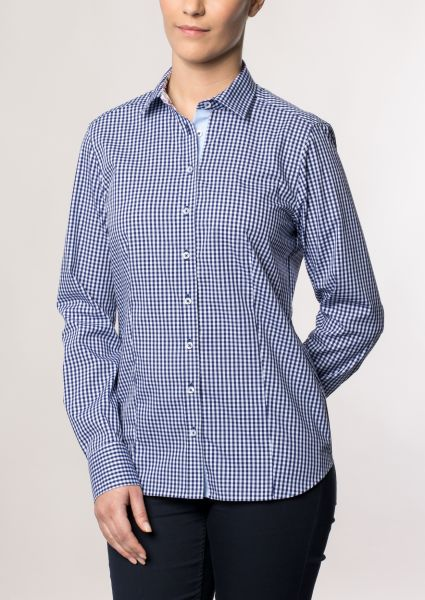 ETERNA LONG SLEEVE BLOUSE MODERN CLASSIC NAVY CHECKED