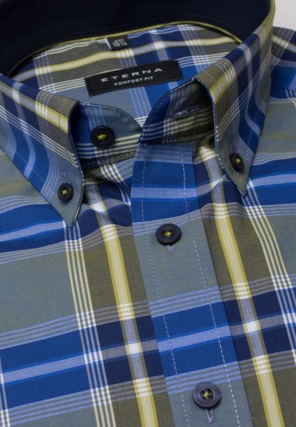 ETERNA LONG SLEEVE SHIRT COMFORT FIT POPLIN BLUE / OLIVE CHECKED