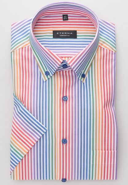 ETERNA HALF SLEEVE SHIRT COMFORT FIT POPLIN COLORFUL STRIPED