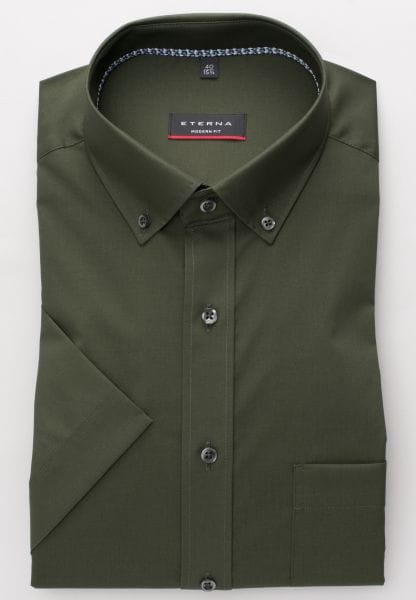 ETERNA HALF SLEEVE SHIRT MODERN FIT POPLIN OLIVE GREEN UNI