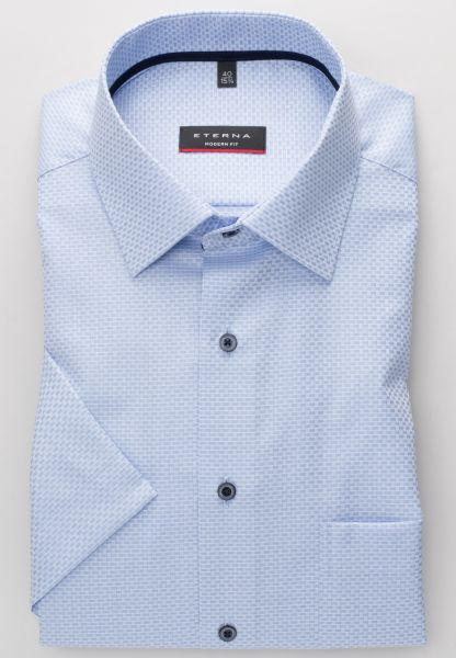 ETERNA SHIRT MODERN FIT TWILL LIGHT BLUE / WHITE STRUCTURED