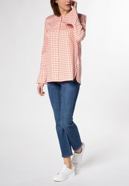 LONG SLEEVE BLOUSE 1863 BY ETERNA - PREMIUM SALMON / WHITE PRINTED