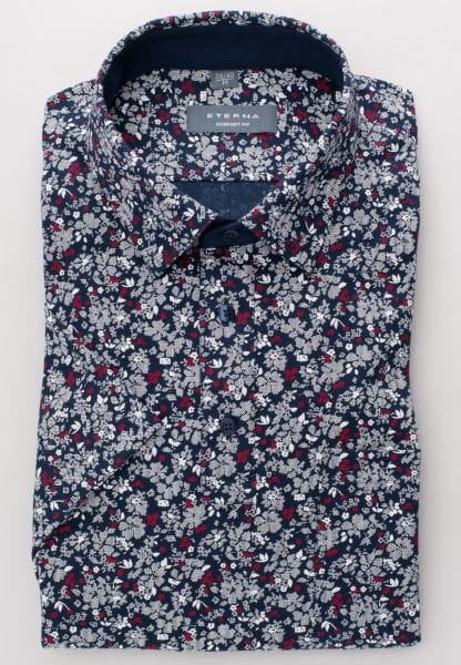 ETERNA POLOSHIRT COMFORT FIT PIQUÉE NAVY / RED PRINTED