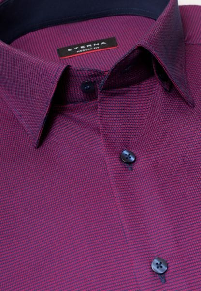 ETERNA LONG SLEEVE SHIRT MODERN FIT FANCY WEAVE RED CHECKED
