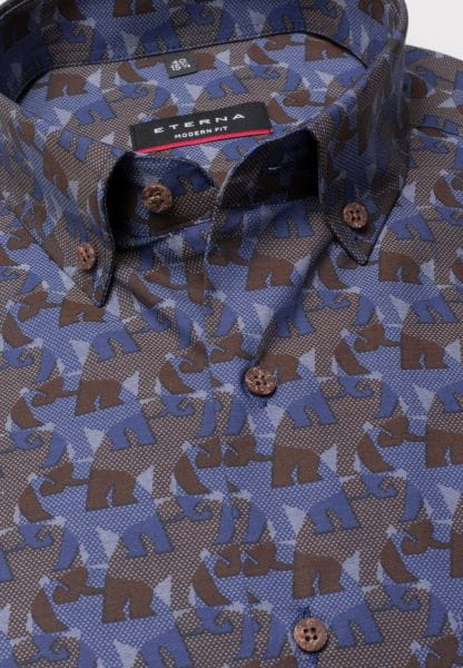 ETERNA SHIRT MODERN FIT CHAMBRAY BLUE PRINTED