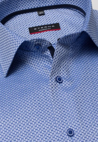 ETERNA LONG SLEEVE SHIRT MODERN FIT TWILL BLUE/WHITE STRUCTURED