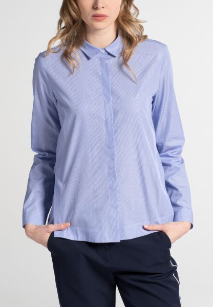 LONG SLEEVE BLOUSE 1863 BY ETERNA - PREMIUM MILLERAYÉ BLUE STRIPED