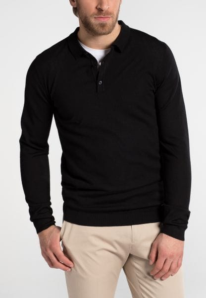 ETERNA KNIT SWEATER WITH POLO NECK BLACK<BR> UNI