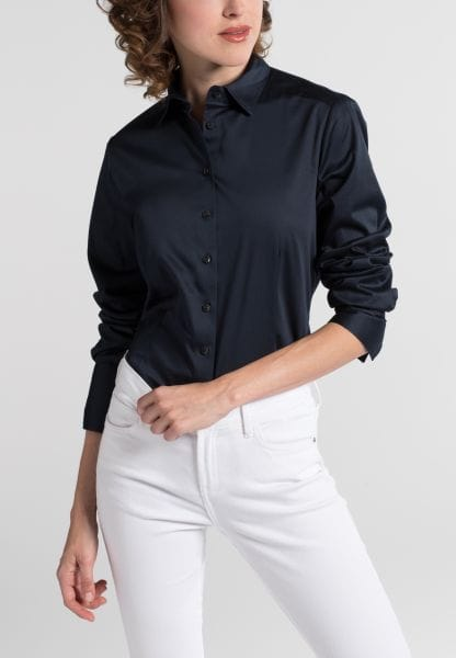 ETERNA LONG SLEEVE BLOUSE FOR TALL WOMEN MODERN CLASSIC NAVY UNI