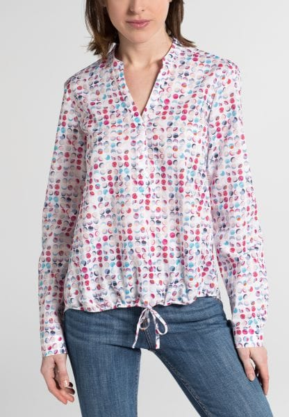 ETERNA LONG SLEEVE BLOUSE MODERN CLASSIC POPLIN PINK / BLUE / WHITE PRINTED